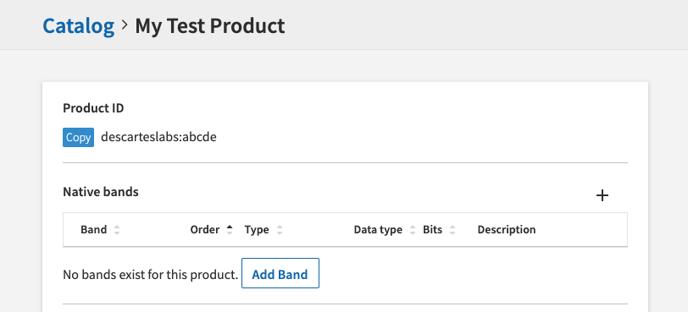 Catalog UI Create Band Button